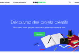 Page d'accueil de Kickstarter