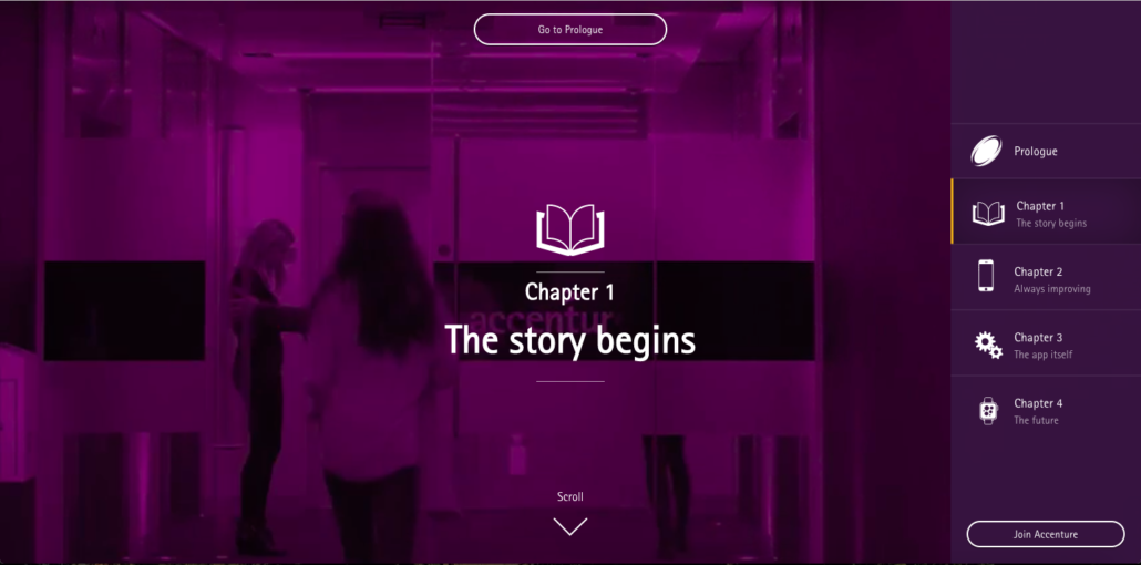 Page d'accueil du microsite d'Accenture