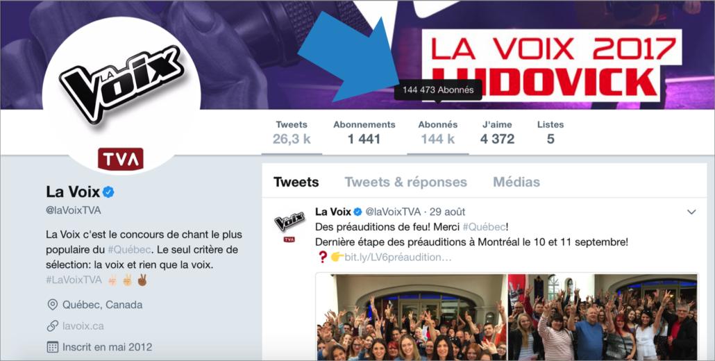 Page Twitter de La Voix