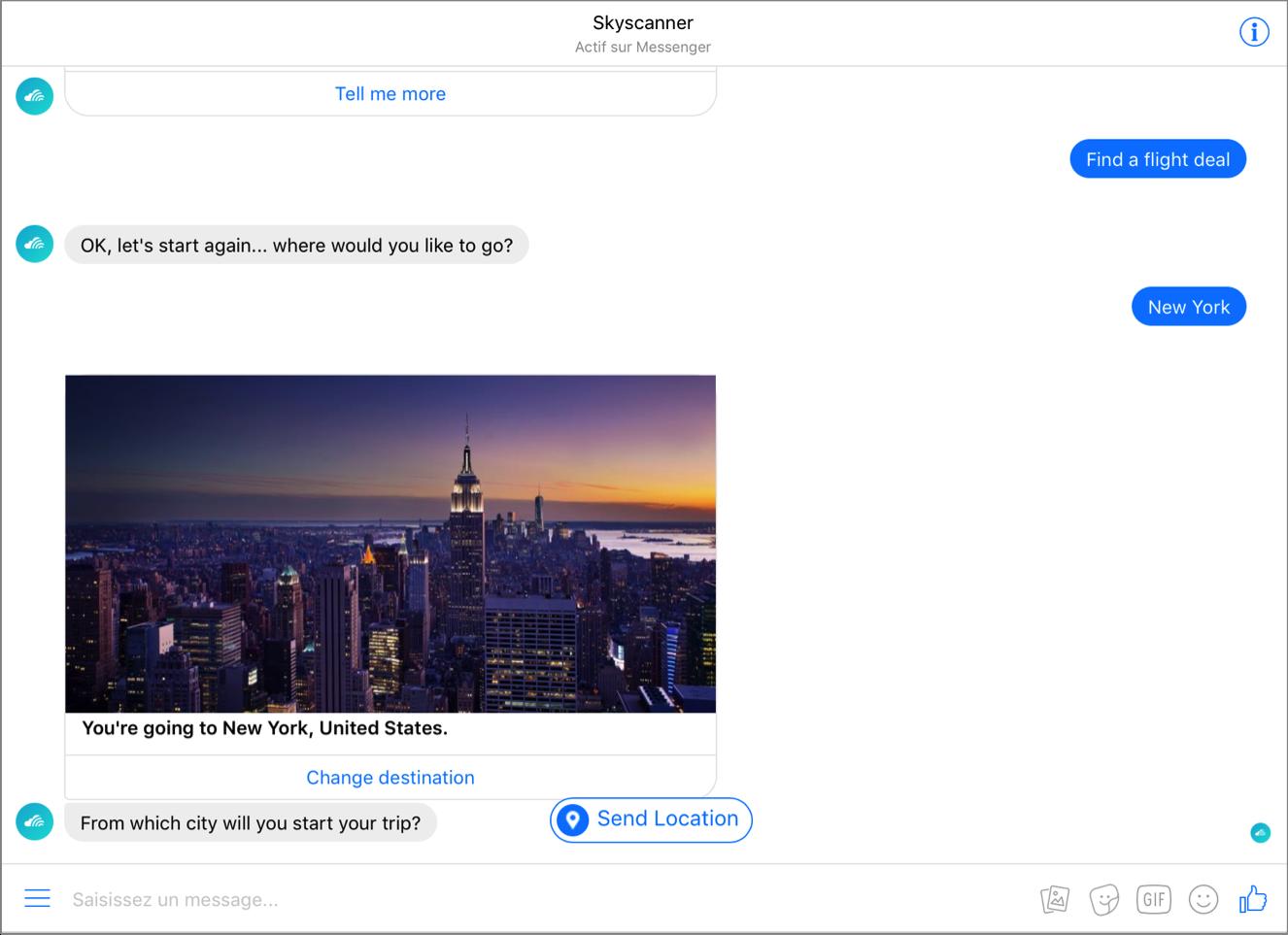 Chatbot de Skyscanner