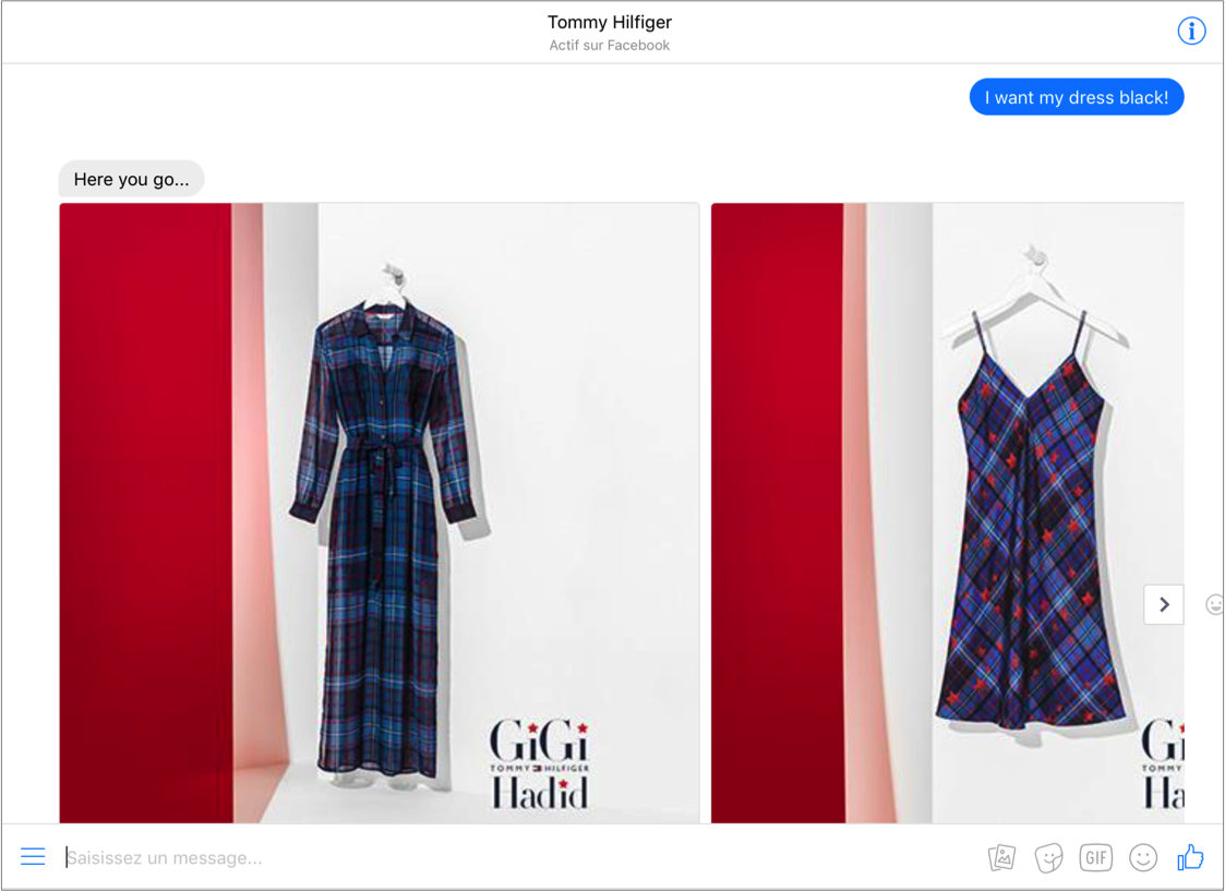 Chatbot de Tommy Hilfiger incompréhension