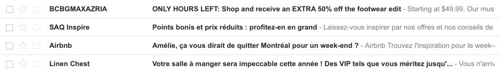 Titres de courriels