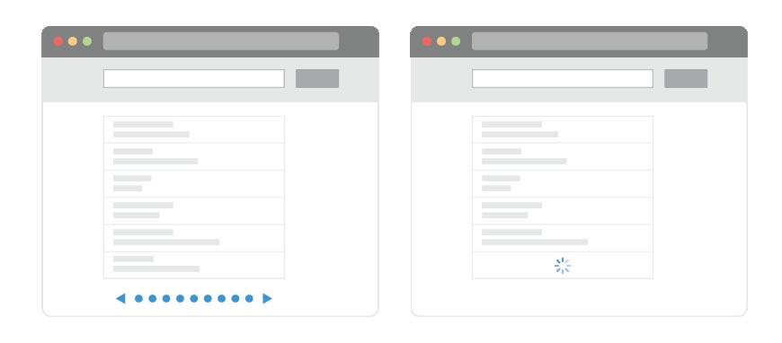 infinite scroll vs pagination traditionnelle