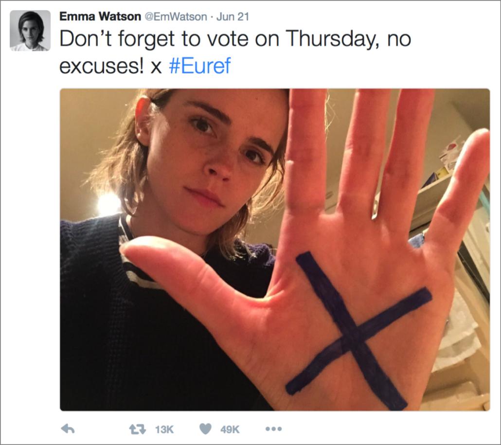 selfie-emma-watson-brexit-vote