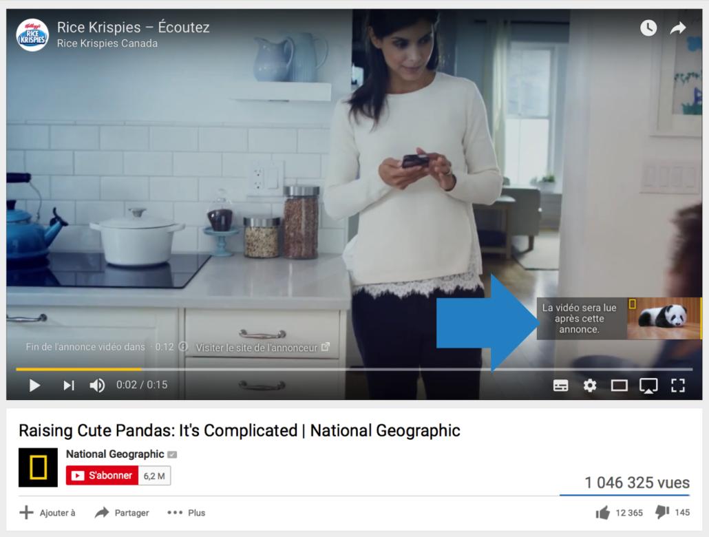 Publicité de type pre-roll sur YouTube