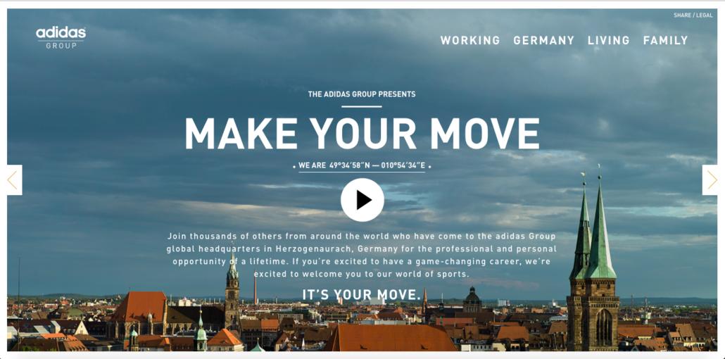 Page d'accueil du microsite d'Adidas