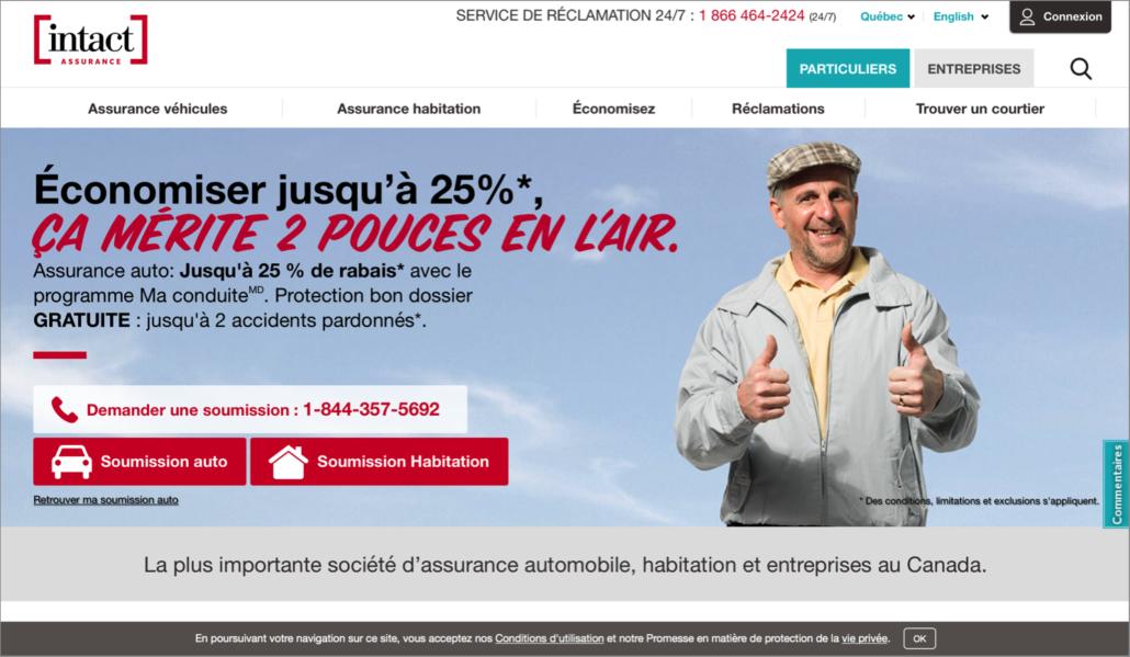 Page d'accueil d'Intact Assurance pour les Québécois
