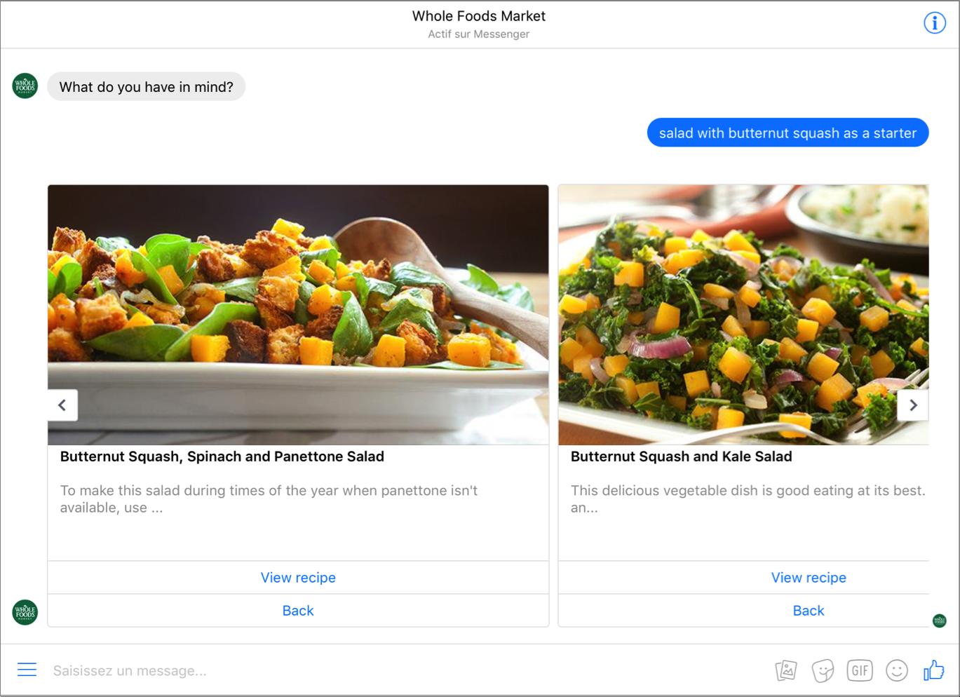 Chatbot de Whole Foods